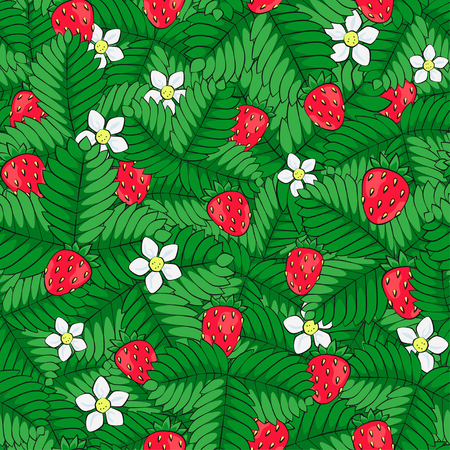 Field of wild forest strawberry. Seamless pattern. Hand drawn. Vector. EPS 8