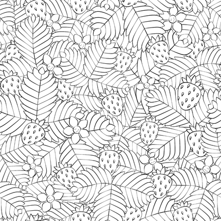 Field of wild forest strawberry. Seamless pattern. Hand drawn. Vector. EPS 8 Banco de Imagens - 102959300