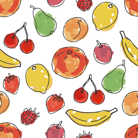 Fruits and berries. Imitation of watercolor. Seamless pattern in doodle and cartoon style. Vector. EPS 10