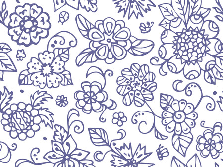 Abstract summer flowers. Seamless pattern in doodle and cartoon style. Vector. EPS 10