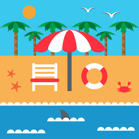 Summer vacation on the beach and the sea. Parasol and deckchair. Set of elements in flat style. Vector Illustration