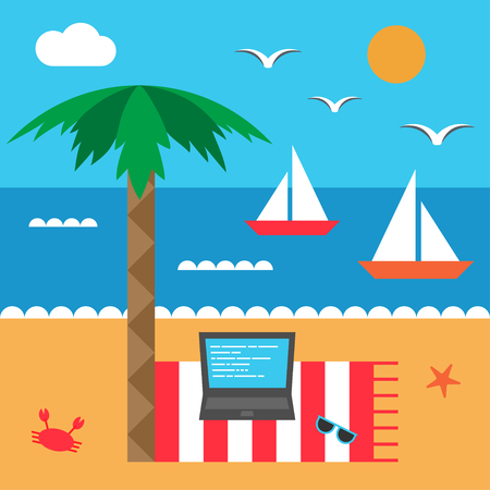Freelance by the sea. Seashore and beach. Set of elements in flat style. Vector Ilustração