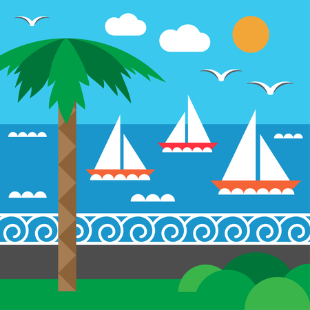 Sailing regatta and seashore. Yachting. Seashore and palm. Set of elements in flat style. Vector