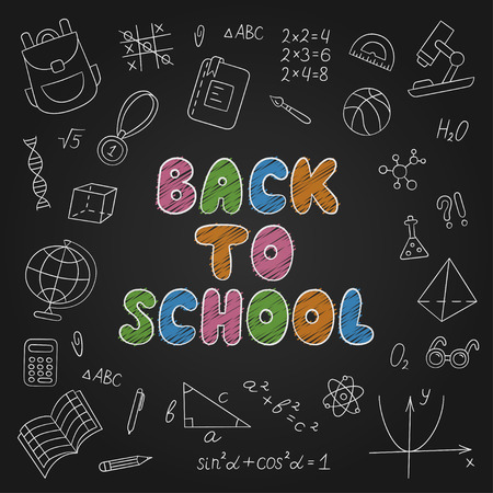 Back to school. Lettering. Chalkboard. Set of school elements in doodle and cartoon style. Vector. EPS 10 向量圖像