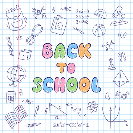 Back to school. Lettering. Notebook in a cage. Set of school elements in doodle and cartoon style. Vector. EPS 10