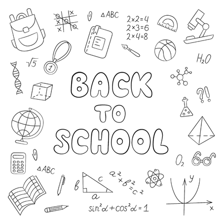 Back to school. Lettering. Linear. Black and white. Set of school elements in doodle and cartoon style. Vector. EPS 10 Illustration