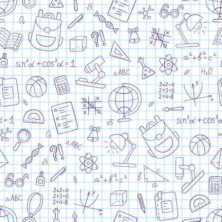 School seamless pattern in doodle and cartoon style. Notebook in a cage. Vector. EPS 10