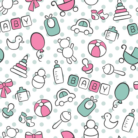 Baby. Newborn. Cute seamless pattern in doodle and cartoon style. Blue and pink. Vector. EPS 8 向量圖像