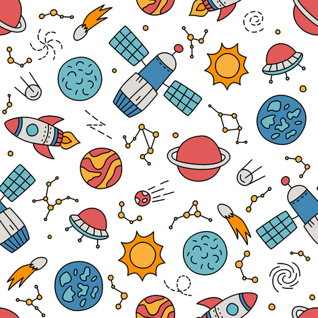 Cosmos. Seamless pattern in doodle and cartoon style. Color. Vector. EPS 8 向量圖像