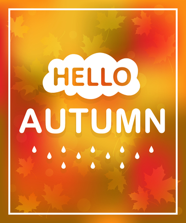 Lettering Hello autumn and fall color background. Card with text. Vector. EPS 10 向量圖像
