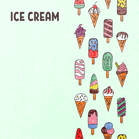 Ice cream, eskimo, waffle cone. Vector illustration in doodle and cartoon style. Colorful. Design for corporate identity, booklet, menu, advertising, shop, cafe 向量圖像