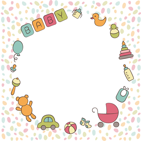 Baby. Newborn. Cute round frame in doodle and cartoon style. Vector. Card for printing, banner, photo album and other