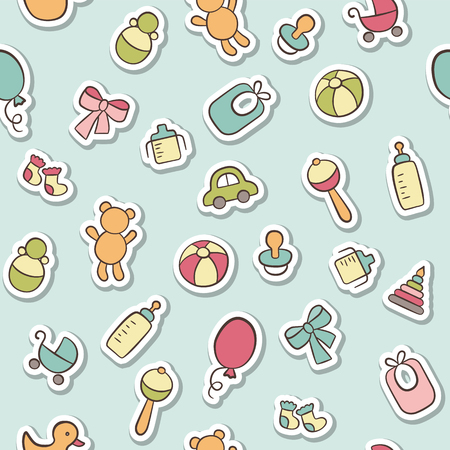 Baby. Newborn. Cute seamless pattern in doodle and cartoon style. Vector background for printing, banner, photo album and other 向量圖像
