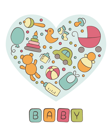 Baby. Newborn. Heart. Cute card in a doodle and cartoon style. Vector. Card for printing, banner, photo album and other
