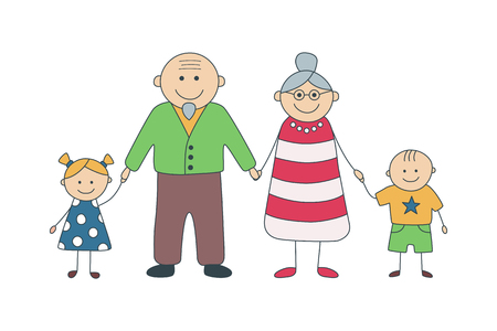 Happy grandparents and grandchildren. Vector illustration in cartoon style. Isolated