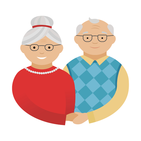 Grandfather and grandmother. Happy grandparents. Vector illustration in flat style. Isolated