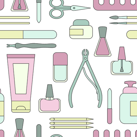 Vector illustration Manicure tools and accessories. Seamless pattern on the topic of nail manicure for shop, magazine, salon, poster and other.