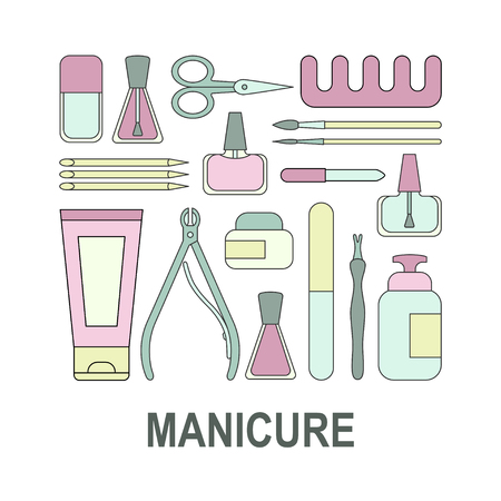 Vector illustration Manicure tools and accessories. A set of elements on the topic of nail manicure for shop, magazine, salon, poster and other.