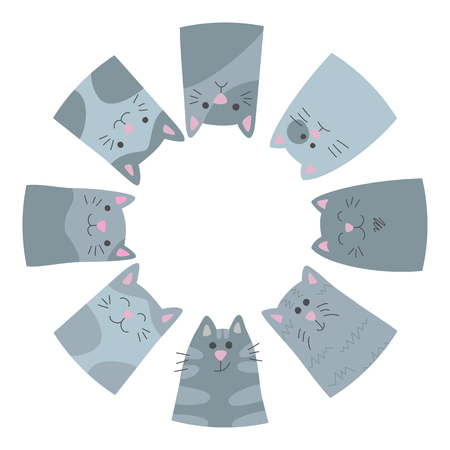 Happy cats. Circle. Card in the doodle and cartoon style. Vector.