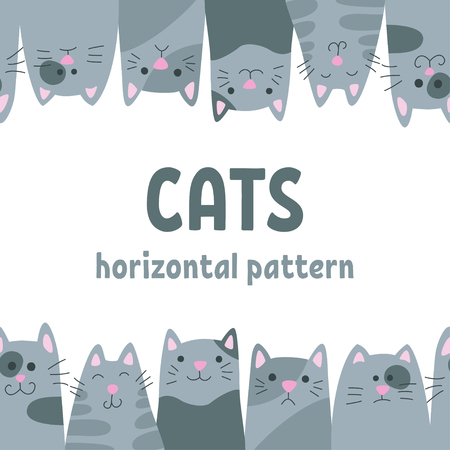 Happy cats. Horizontal seamless pattern in doodle and cartoon style. Vector.