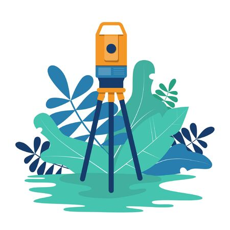 Theodolite. Surveying instrument. Geodesy. Vector illustration in flat and cartoon style.