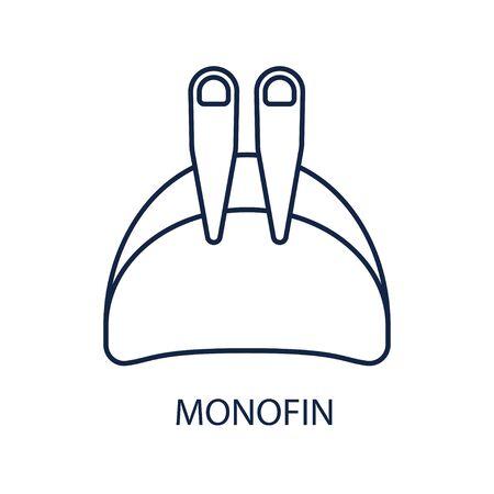 Monofin. Freediving equipment. Icon on white background. Vector illustration