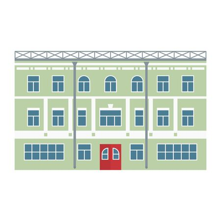 Building. Old town. Vector illustration in flat style
