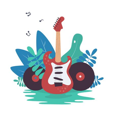 Electric guitar, vinyl records and nature. Great element for music festival or t-shirt. Concept. Vector illustration in flat and cartoon style