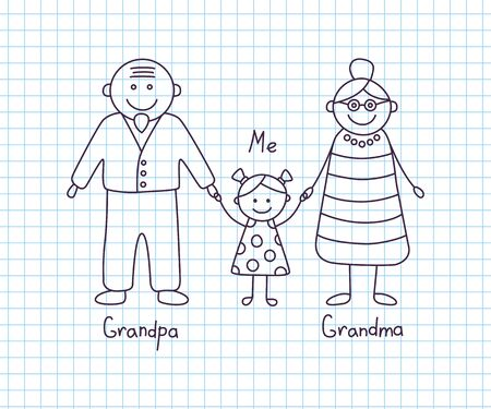 Happy grandparents and granddaughter. Childrens drawing. Vector illustration in cartoon and doodle style. Isolated