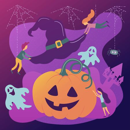 Halloween. Pumpkin and Witch Hat. Vector illustration in cartoon and flat style. Modern colors
