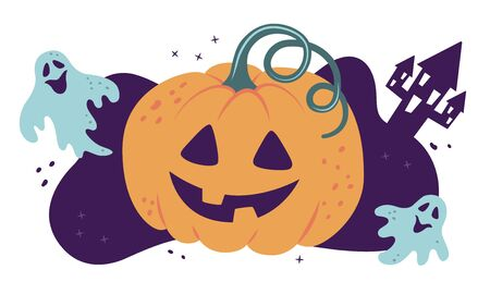 Halloween. Pumpkin and ghosts. Vector illustration in cartoon and flat style.