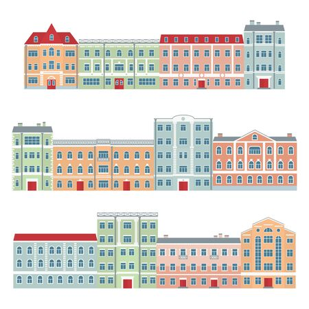 Buildings in the old town. European architecture. Set of streets of beautiful houses. Vector illustration in flat style