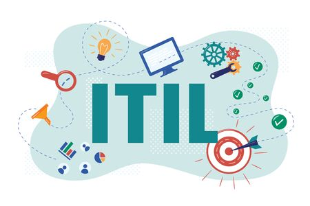 ITIL. Information Technology Infrastructure Library. Vector Illustration in flat style. Isolated on white background.
