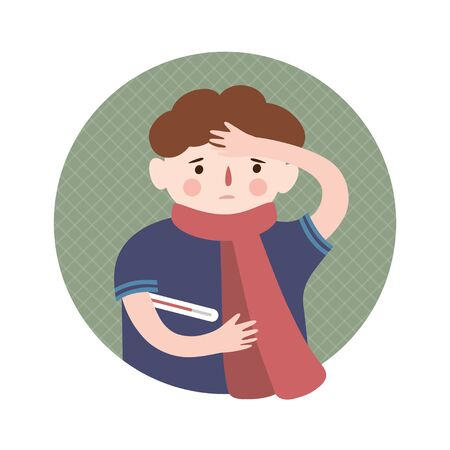 A boy and a cold,virus, flu. Vector illustration in cartoon style