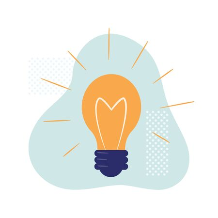 Light bulb is a symbol of creative idea, solution, tips. Vector isolated illustration in cartoon style in white background