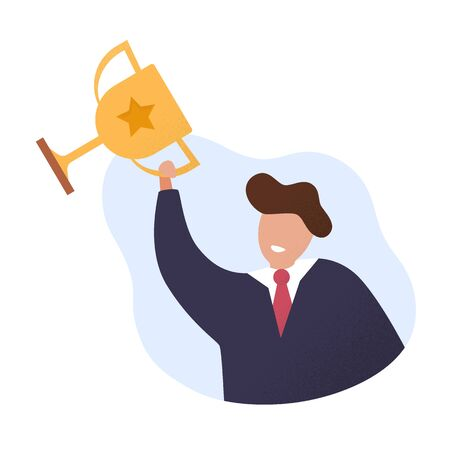 Best seller and the champion cup. Winner. Successful businessman. Vector illustration in cartoon and flat style.
