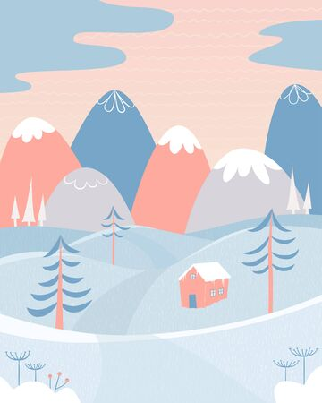 Winter landscape with snow, mountains, hills, house and fir trees. Cute picture for greeting cards, postcards, banners, posters. Vector illustration in cartoon style Иллюстрация