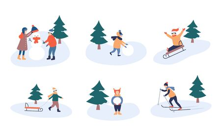 Child winter leisure in park. Happy holidays and merry Christmas. Kids make a snowman. Children skiing and sledding. Set of vector illustration in cartoon and flat style.