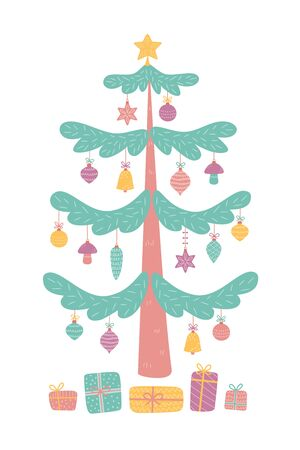 Decorated christmas tree with gift boxes, star and decoration balls. Merry Christmas and a happy new year. Vector illustration in flat and cartoon style on a white background.