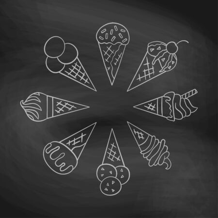 Ice cream, waffle cone. Set of elements in doodle and cartoon style on chalkboard. Vector illustration