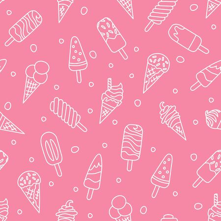 Ice cream, eskimo, waffle cone. Seamless pattern in doodle and cartoon style on pink background. Vector illustration