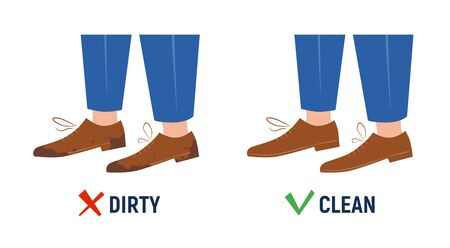 Dirty and clean shoes. Before and after. Isolated sign on white background. Vector illustration in flat and cartoon style