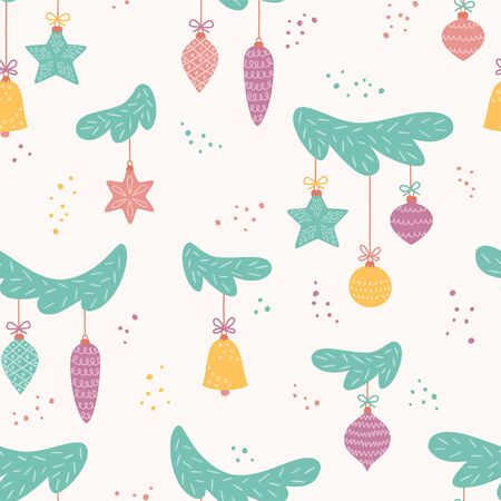 Toys on Christmas tree. New Year balls. Seamless pattern for Christmas decoration. Vector illustration in cartoon and scandinavian style