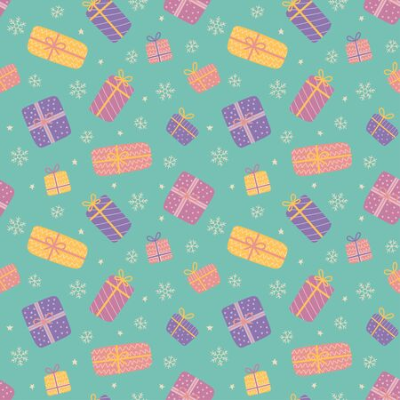 Christmas seamless pattern with gift boxes. Cute presents. Vector illustration on cartoon and flat style 向量圖像