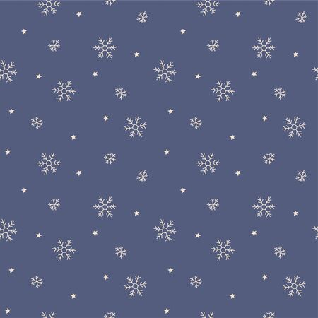 Snowflakes in doodle style. Winter snow seamless pattern