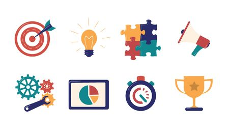 Set of vector illustrations for describe business processes, for design websites. Goal, a target with an arrow, idea, light bulb, puzzles, megaphone, gears and wrench, chart on tablet, stopwatch, champion cup. Flat style