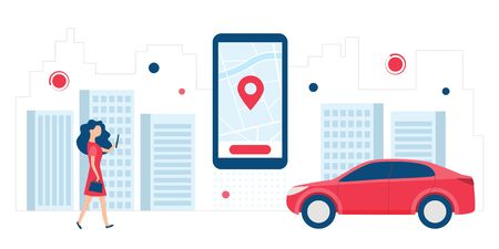 Online Car Sharing, car rental, Taxi, GPS on the city map, taNavigation, Location App Concept. Vector illustration with cartoon character and use smartphone