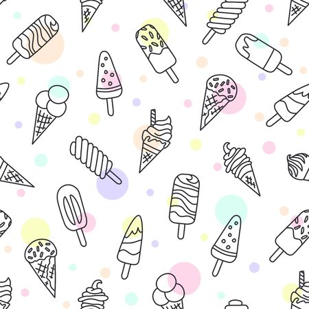 Ice cream, eskimo, waffle cone. Seamless pattern in doodle and cartoon style. Vector illustration