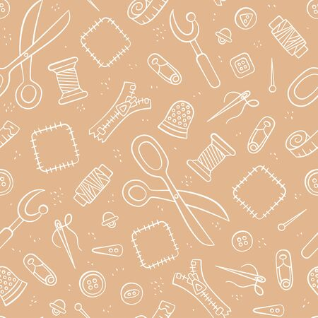 Tools and accessories for Sewing and needlework. Seamless pattern in doodle and cartoon style. Vector illustration