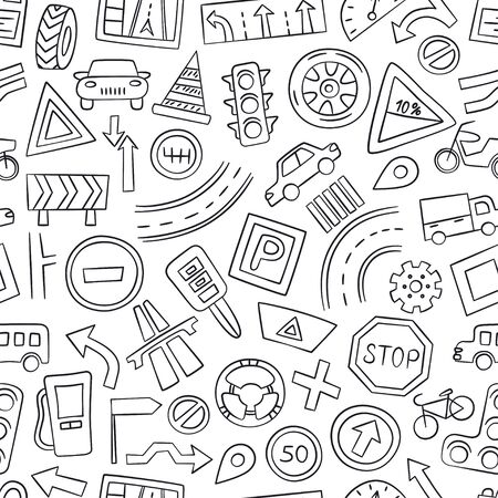 Cars, road objects, traffic signs and automobile symbols. Seamless pattern in doodle style. Vector illustration for driving school, car shops, auto parts store, service centers 向量圖像